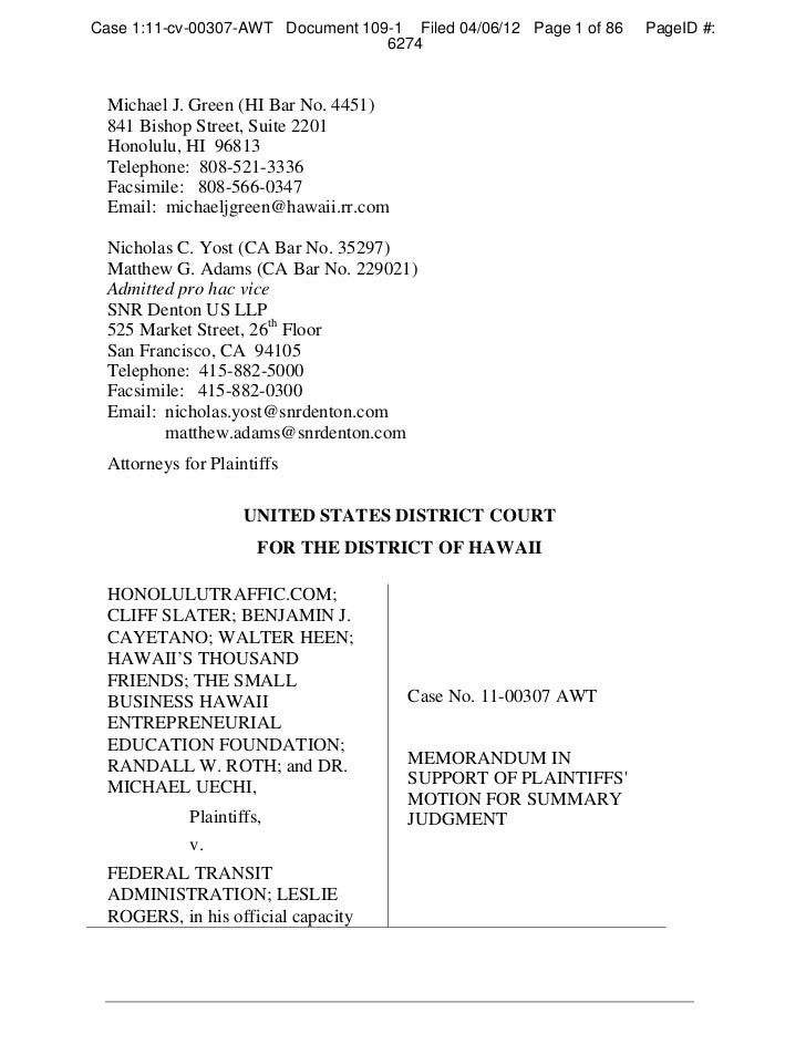 Case 1:11-cv-00307-AWT Document 109-1 Filed 04/06/12 Page 1 of 86   PageID #:                                   6274  Mich...