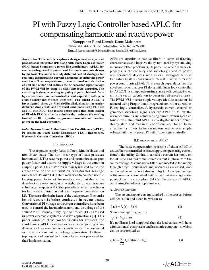 PI with Fuzzy Logic Controller based APLC for compensating harmonic and reactive power