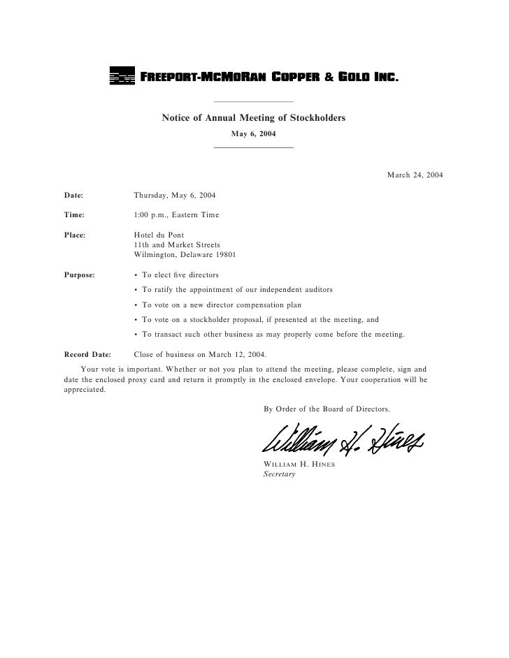 Notice of Annual Meeting of Stockholders                                               May 6, 2004                        ...