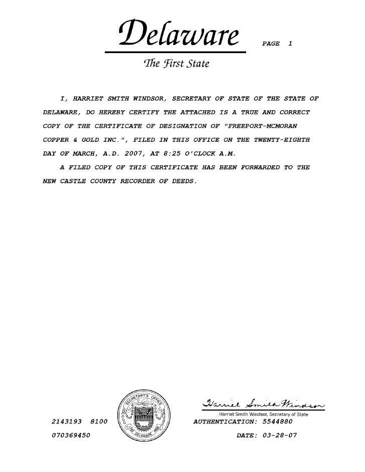 freeport-mcmoran copper& gold  Certificate of Designations for Freeport-McMoRan Copper & Gold Inc.'s 6¾% Mandatory Convertible Preferred Stock, March 28, 2007