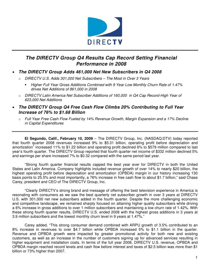 The DIRECTV Group Q4 Results Cap Record Setting Financial                         Performance in 2008 • The DIRECTV Group ...