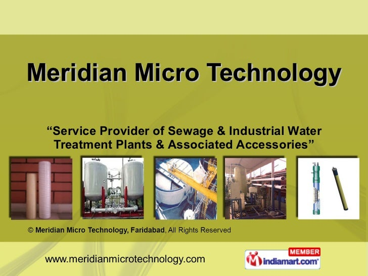"Meridian Micro Technology "" Service Provider of Sewage & Industrial Water Treatment Plants & Associated Accessories"""