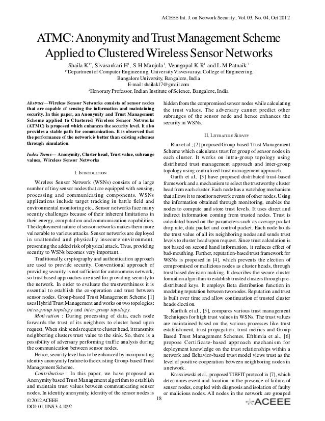 ACEEE Int. J. on Network Security , Vol. 03, No. 04, Oct 2012  ATMC: Anonymity and Trust Management Scheme Applied to Clus...