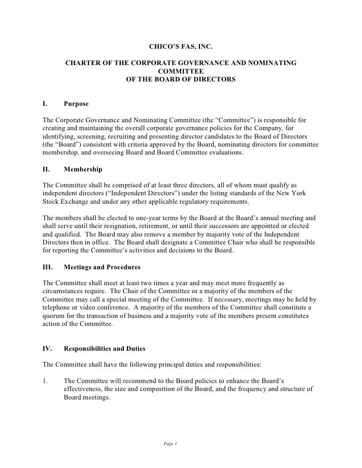 CHICO'S FAS, INC.          CHARTER OF THE CORPORATE GOVERNANCE AND NOMINATING                              COMMITTEE      ...