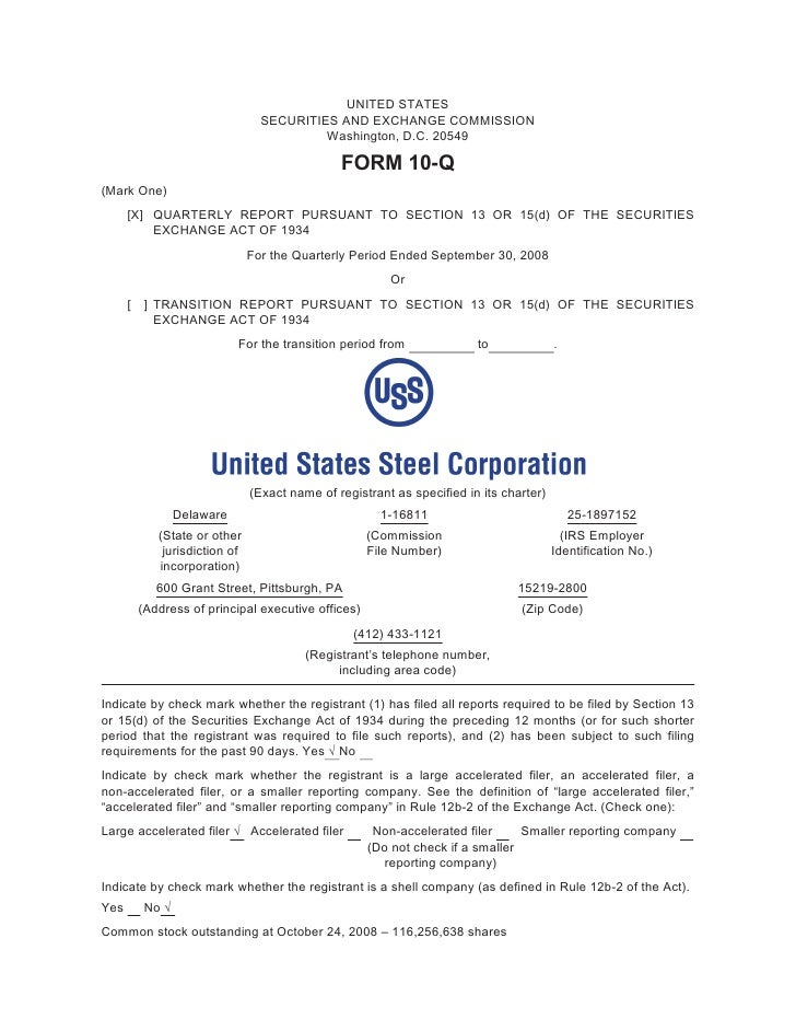 U.S. Steel Third Quarter 2008 Form 10-Q