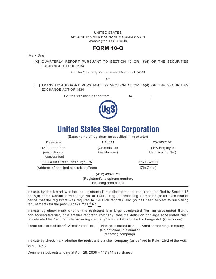 U.S. Steel First Quarter 2008 Form 10-Q