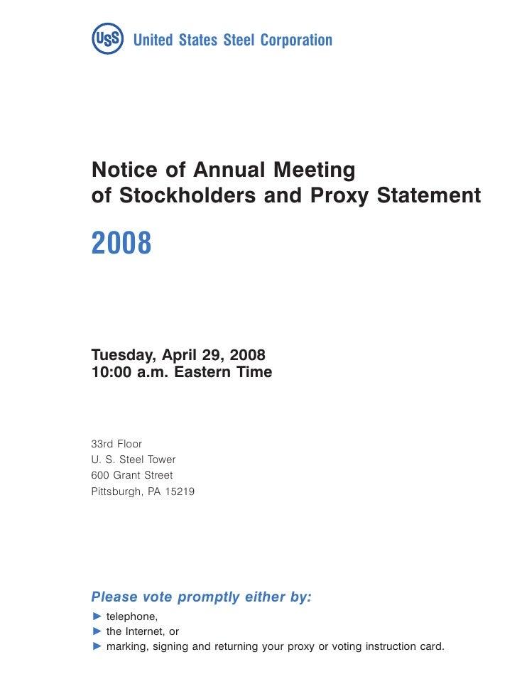 U.S. Steel 2008 Proxy Statement