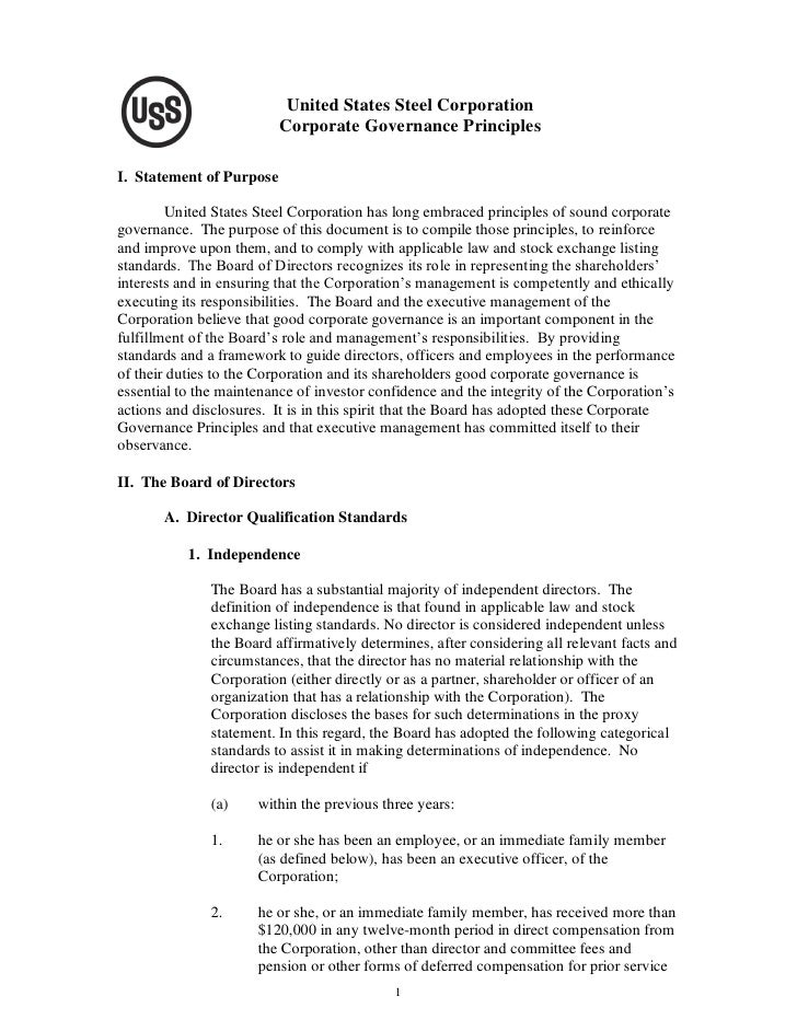 United States Steel Corporation                           Corporate Governance Principles  I. Statement of Purpose        ...