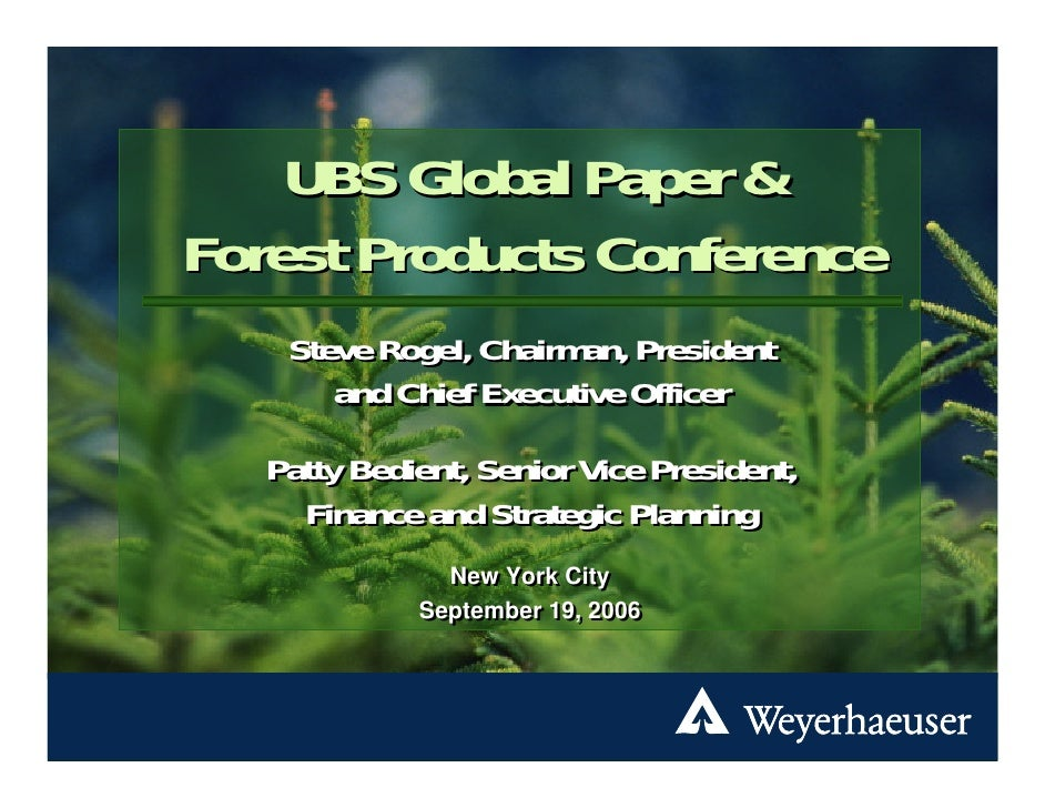 UBS Global Paper and Forest Products Conference Presentation