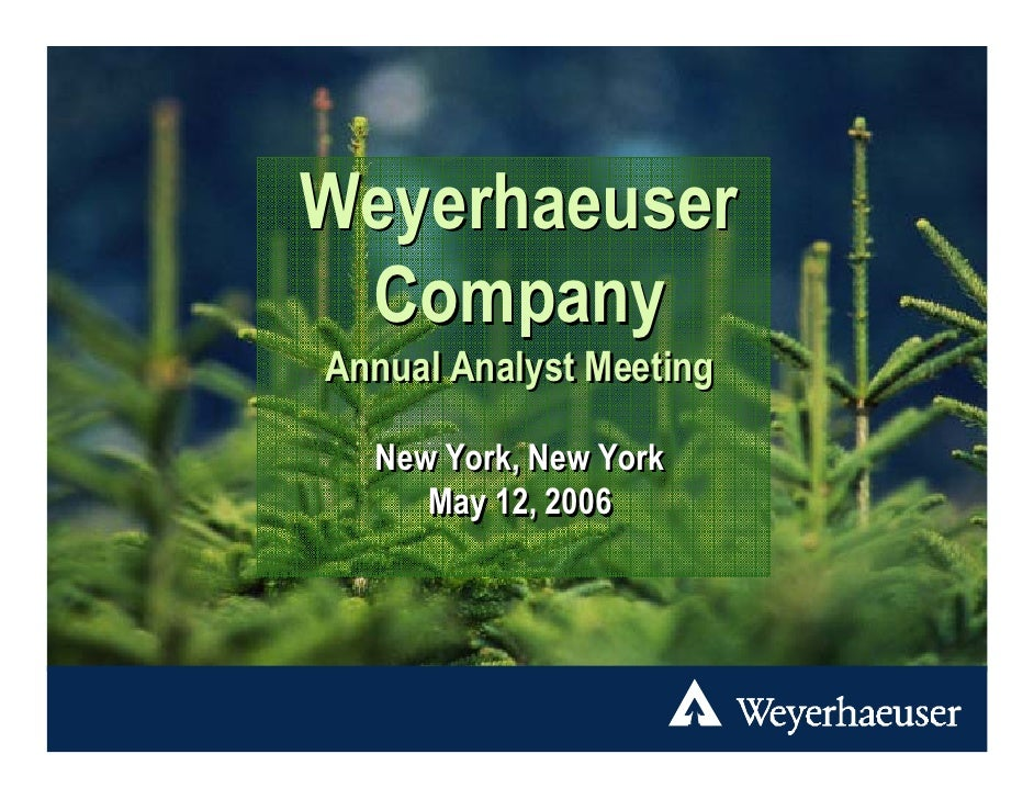 Weyerhaeuser  Company Annual Analyst Meeting    New York, New York      May 12, 2006