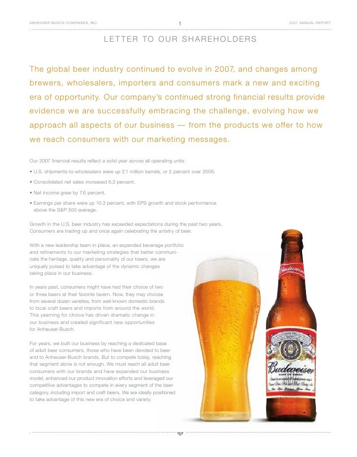 anheuser-busch BUD07_Annual_Report_Letter