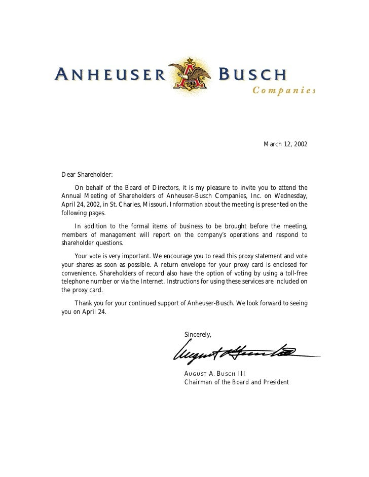 March 12, 2002    Dear Shareholder:       On behalf of the Board of Directors, it is my pleasure to invite you to attend t...