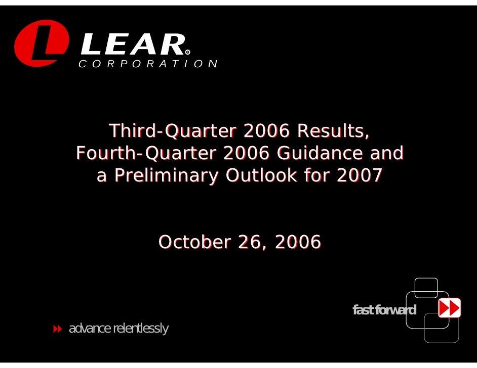 LEAR Q3 06 earnings