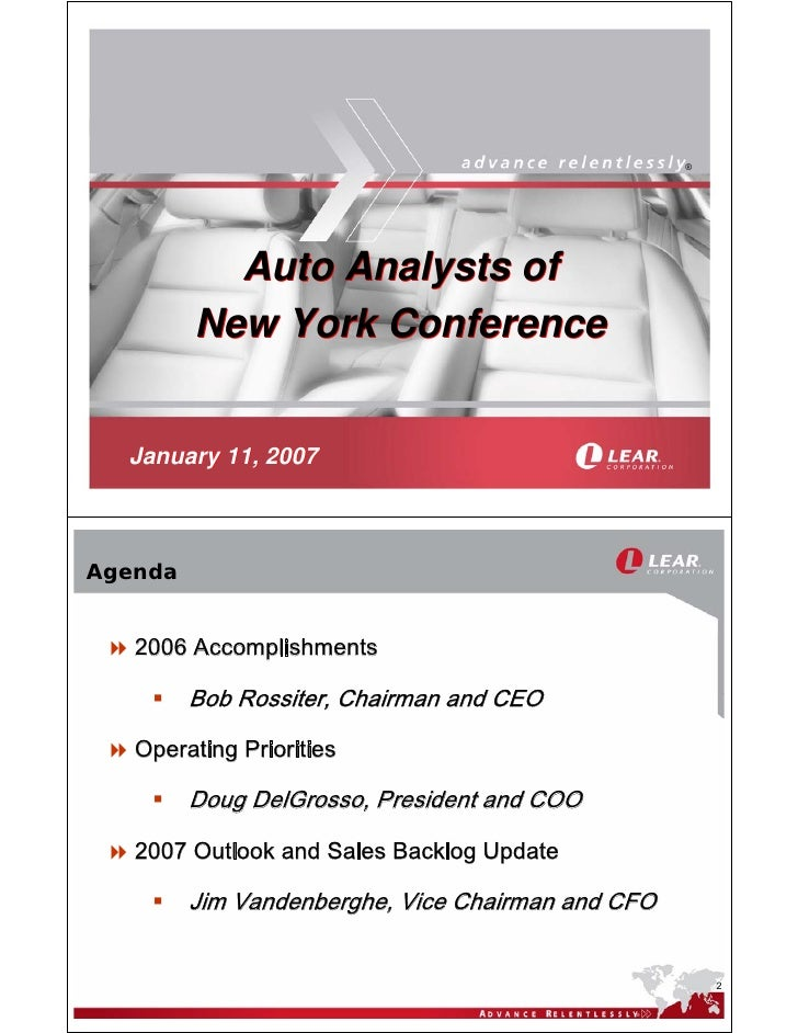 ®                Auto Analysts of          New York Conference     January 11, 2007    Agenda      2006 Accomplishments   ...
