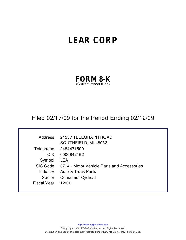 LEAR CORP                                     FORM 8-K                                  (Current report filing)     Filed ...