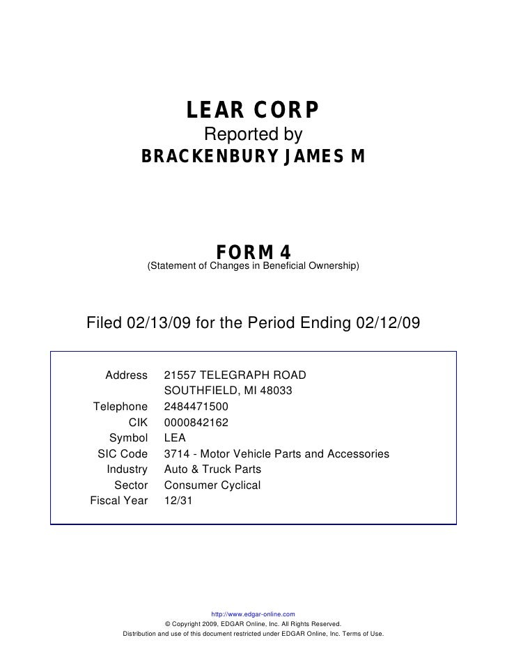 LEAR CORP                  Reported by             BRACKENBURY JAMES M                                         FORM 4     ...