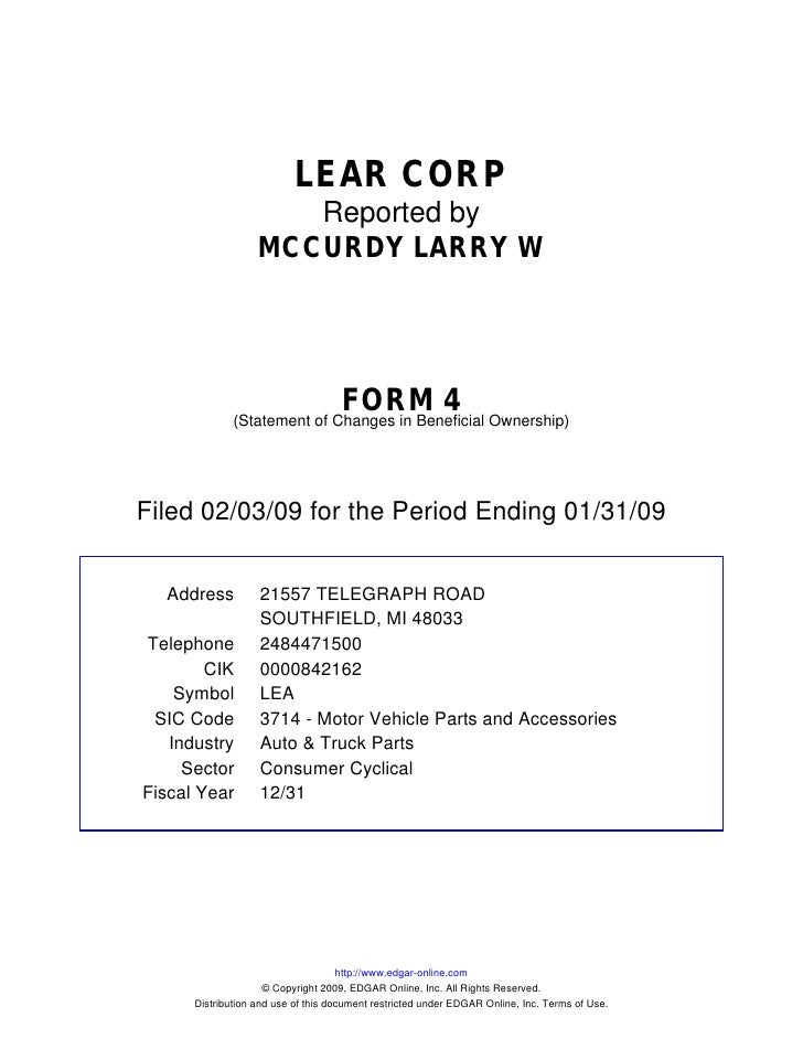 LEAR CORP                       Reported by                    MCCURDY LARRY W                                         FOR...