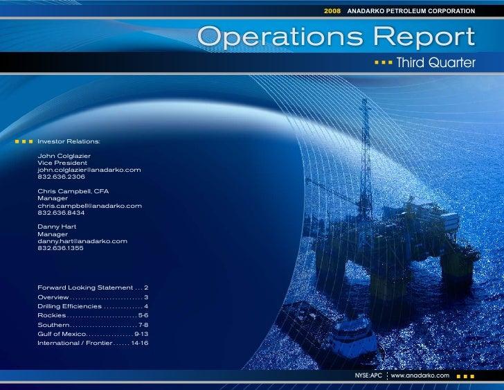 anadarko petroleum 3Q08 Operations Report