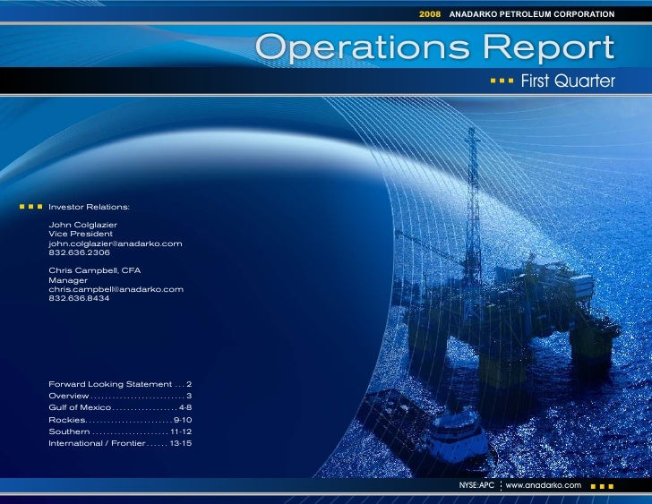 anadarko petroleum 1Q08 Operations Report