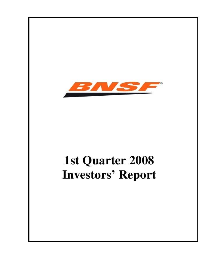 1st Quarter 2008 Investors' Report
