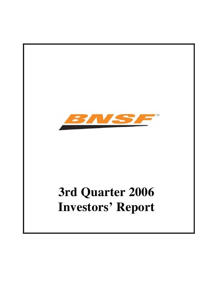 bnsf 3Q 2006 Investors Report