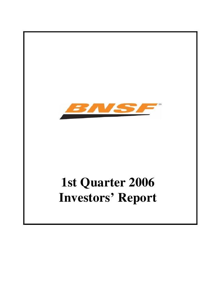 1st Quarter 2006 Investors' Report