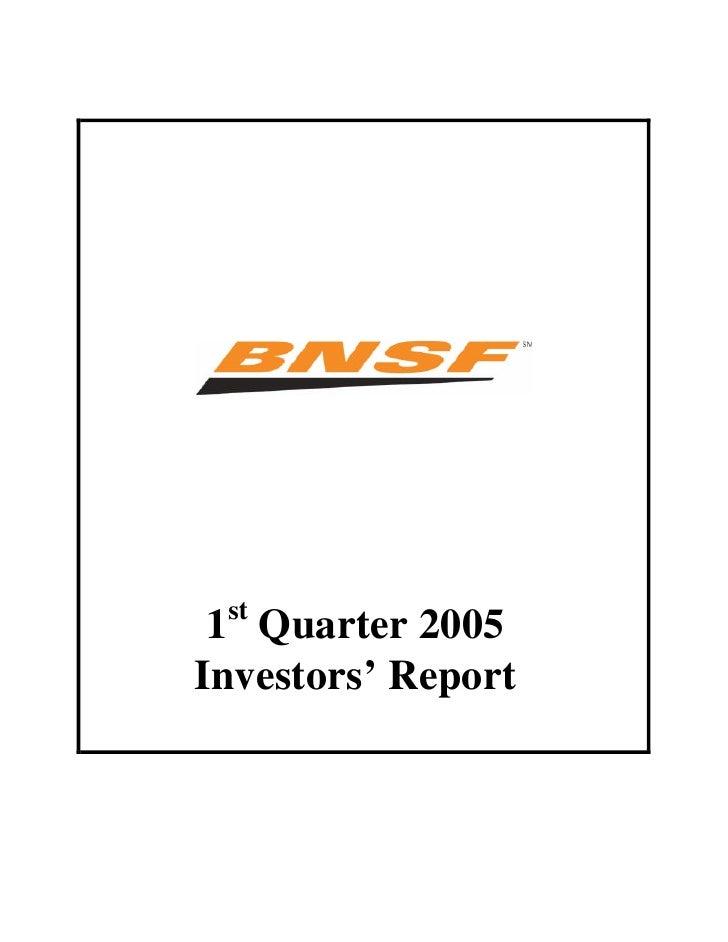 st  1 Quarter 2005 Investors' Report