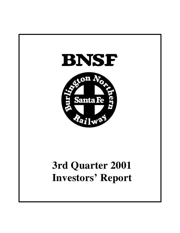 3rd Quarter 2001 Investors' Report