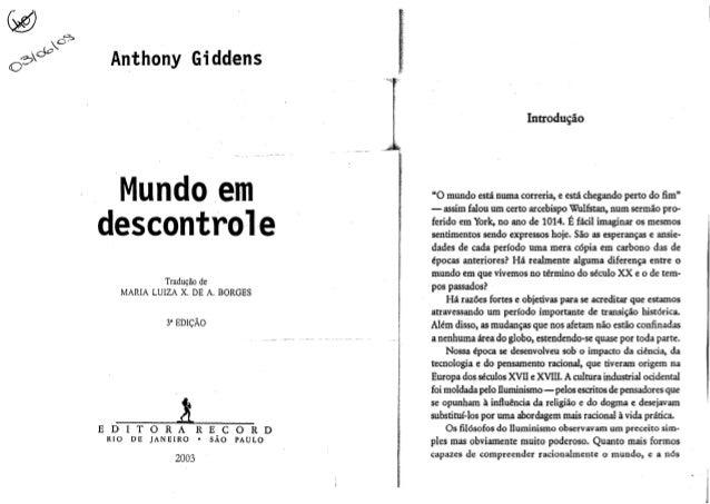 Anthony Giddens Introdu~ao  Mundo em  descontrole Tradu9iio de MARIA LUIZA X. DE A. BORGES  .! EDITORA RIO  DE  a  RECORD ...