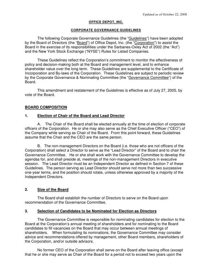 office depot  Governance_Guidelines_October_2008