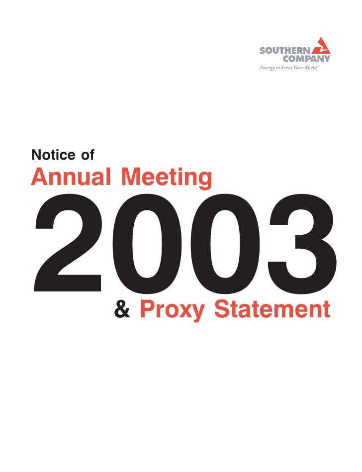 southern Proxy Statement 2003