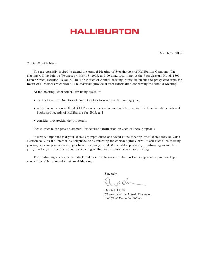 March 22, 2005  To Our Stockholders:      You are cordially invited to attend the Annual Meeting of Stockholders of Hallib...