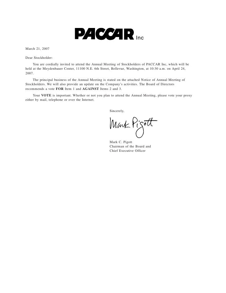 Inc March 21, 2007  Dear Stockholder:      You are cordially invited to attend the Annual Meeting of Stockholders of PACCA...