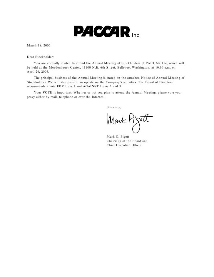 Inc March 18, 2005   Dear Stockholder:     You are cordially invited to attend the Annual Meeting of Stockholders of PACCA...