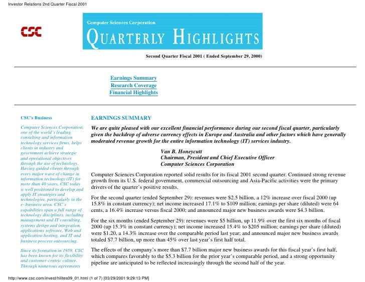 Investor Relations 2nd Quarter Fiscal 2001                                                                               S...