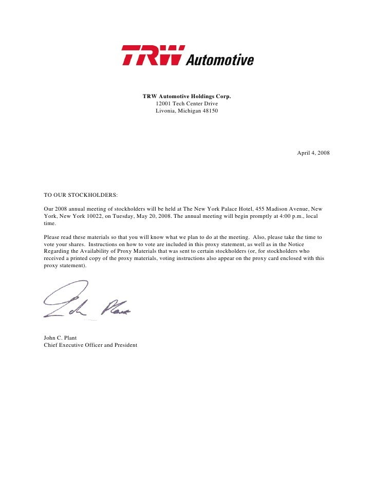 TRW Automotive Holdings Corp.                                            12001 Tech Center Drive                          ...