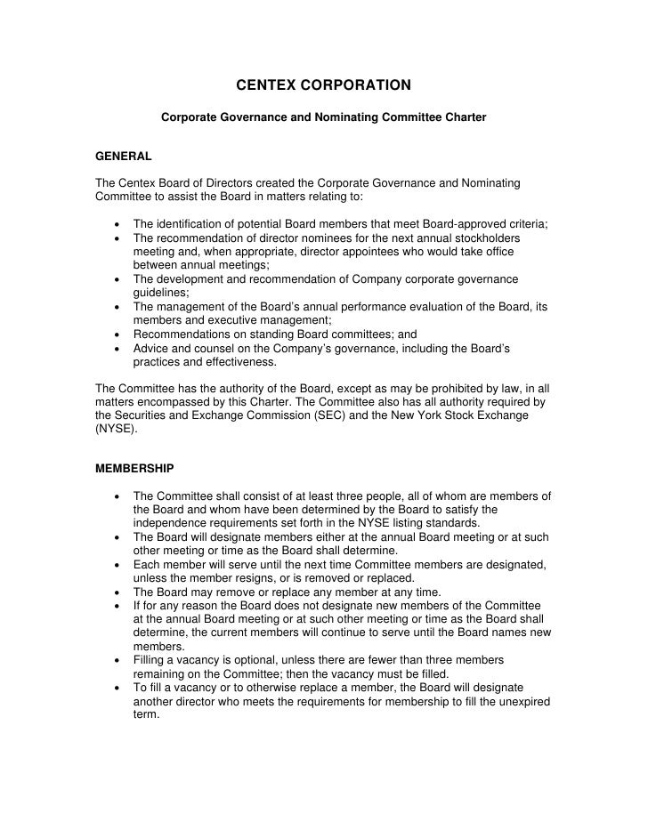 CENTEX CORPORATION              Corporate Governance and Nominating Committee Charter   GENERAL  The Centex Board of Direc...