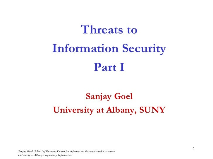 Threats to                           Information Security                                  Part I                         ...