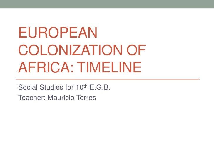 EUROPEANCOLONIZATION OFAFRICA: TIMELINESocial Studies for 10th E.G.B.Teacher: Mauricio Torres