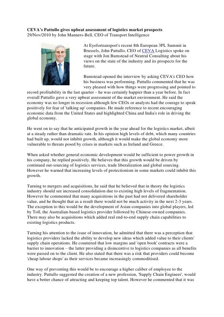 CEVA's Pattullo gives upbeat assessment of logistics market prospects, John Pattullo, CEO, CEVA Logistics