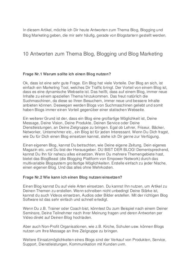 10 antworten zum Thema Blog, Blogging und Blog Marketing