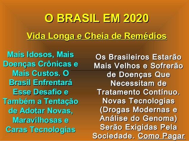O BRASIL EM 2020O BRASIL EM 2020 Vida Longa e Cheia de RemédiosVida Longa e Cheia de Remédios Mais Idosos, MaisMais Idosos...