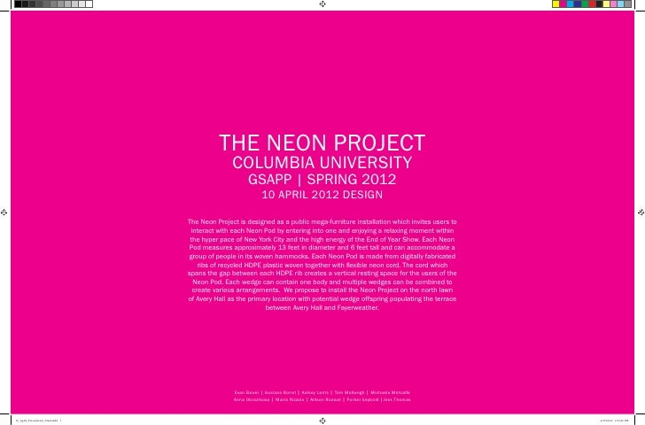 THE NEON PROJECT                                                    COLUMBIA UNIVERSITY                                   ...