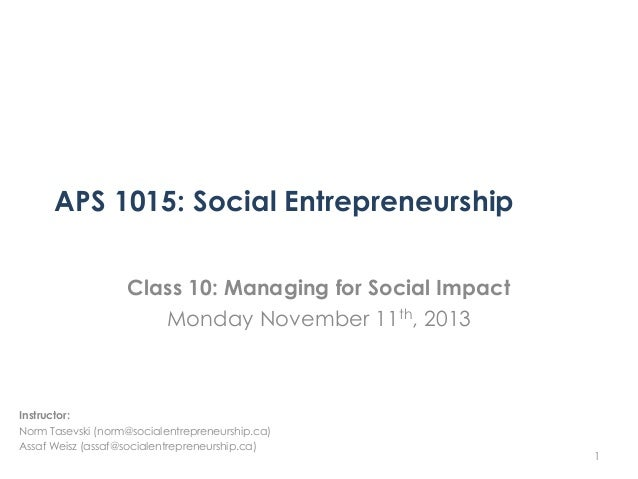 APS 1015   Class 10 - Managing for Impact