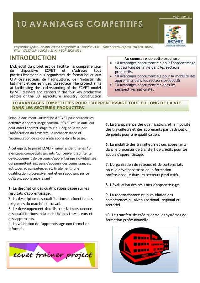 10 Avantages compétitifs pour l'application ECVET