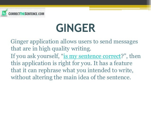 Ginger sentence correction