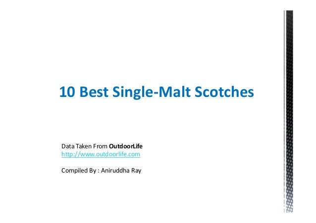 10 Best Single-Malt ScotchesData Taken From OutdoorLifehttp://www.outdoorlife.comCompiled By : Aniruddha Ray