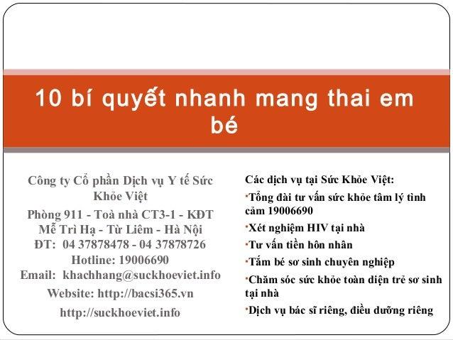 10 bí quyết nhanh mang thai em bé Công ty Cổ phần Dịch vụ Y tế Sức Khỏe Việt Phòng 911 - Toà nhà CT3-1 - KĐT Mễ Trì Hạ - T...