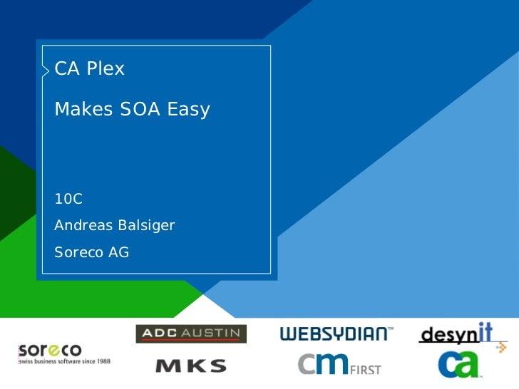 CA Plex             Makes SOA Easy               10C            Andreas Balsiger            Soreco AG     Co-branded Logo ...