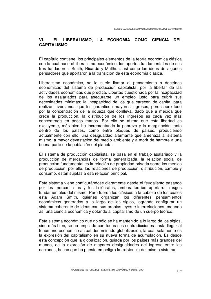 EL LIBERALISMO, LA ECONOMIA COMO CIENCIA DEL CAPITALISMO     VI-   EL LIBERALISMO,                LA      ECONOMIA        ...